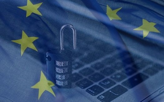 EU flag over cyber lock