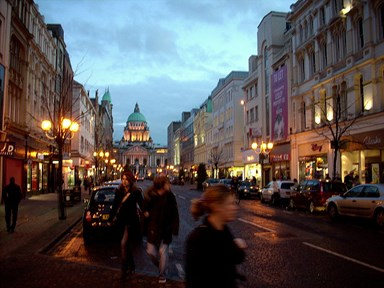 Central Belfast streetscene at night