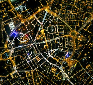 Leicester at night, from the Bluesky survey.