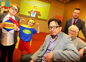"(Left to right) ""digital hero twins"" Elliot and Jamie Cook, aged eight; Herb Kim of Thinking Digital; Newcastle Councillor Ann Schofield and Tristan Wilkinson of Go ON UK at the launch of Go Digital Newcastle."