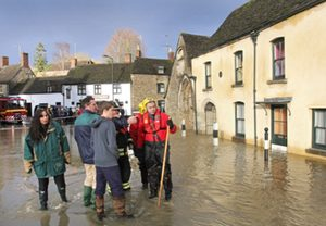 Fire officers help residents cope with floods in Malmesbury in Wiltshire