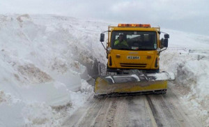 A snow plough at work: Spatial NI data was used to help co-ordinate response to the blizzards of 2013.