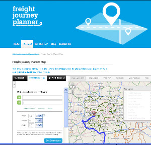 Part of a journey mapped out on the national Freight Journey Planner website.