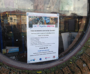 Pictured: A poster for the free 'Get IT Together' courses on display at Stockwood Library, Bristol