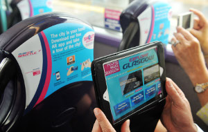 Augmented reality technology fitted to seat backs on First's Glasgow Shuttle service.