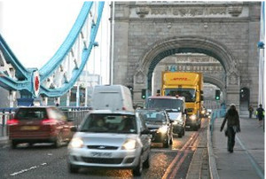 Pictured: Traffic flowing over the famous Tower Bridge, the North side of which lands in the Tower Hamlets road network.