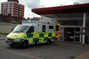An ambulance waiting outside A&E at Bedford Hospital, by Benjah-bmm27 / Wikimedia Commons