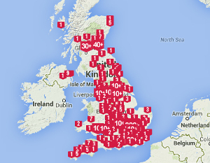 UK map with markers indicating successful crowdfunded projects. Source: Portsmouth Business School / Crowdfunding Centre.