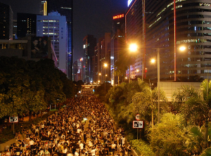Protesters occupy Gloucester Road, Wan Chai, Hong Kong on 29 September 2014 by Citobun/Wikimedia Commons.