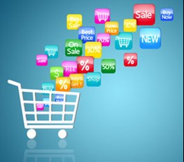 Digital icons going into shopping trolley