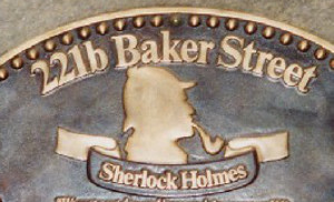 Sherlock Holmes plaque at 221b Baker Street by Mschlindwein / Wikimedia Commons