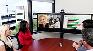 A videoconferencing system in use, by Polycom.