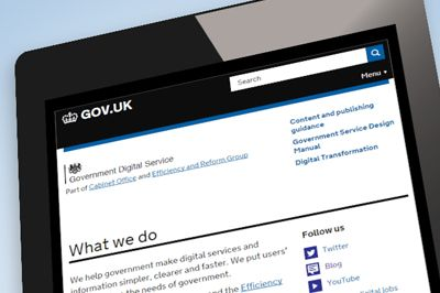 Government Digital Service site on iPad