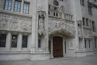 Entrance to Middlesex Guildhall, home of UK Supreme Court