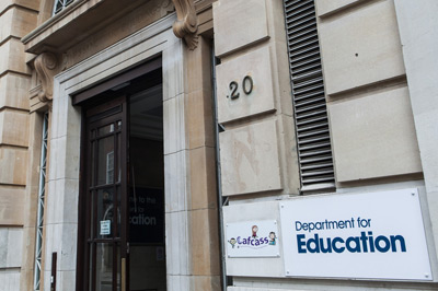 Department for Education entrance sign