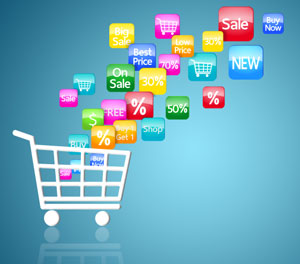 Shopping trolley with digital icons