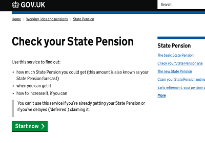 State pension checker screenshot