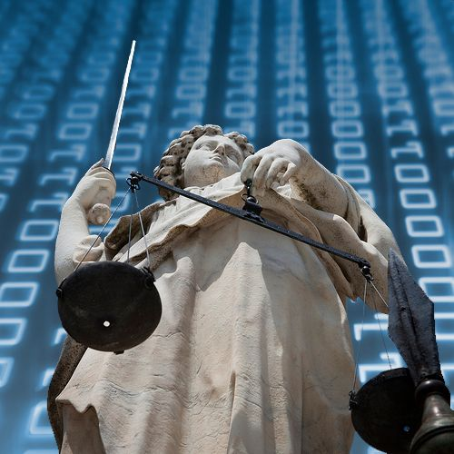 Justice statue with digital background