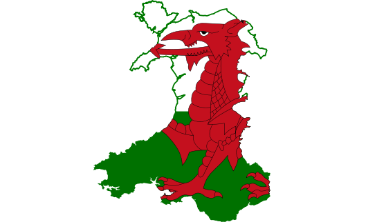 Dragon flag on map of Wales