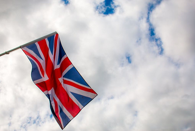 Union Jack flag against sky