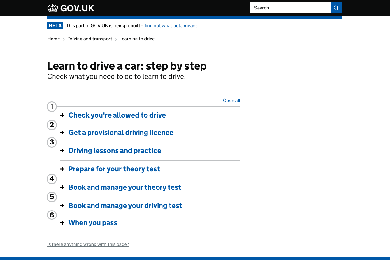 Learning to drive page on GOV.UK