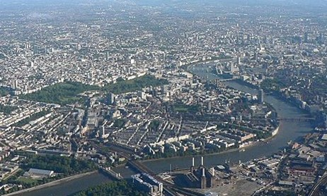 Arial shot of Thames