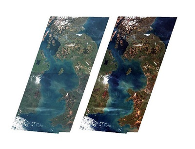Satellite images, before and after processing