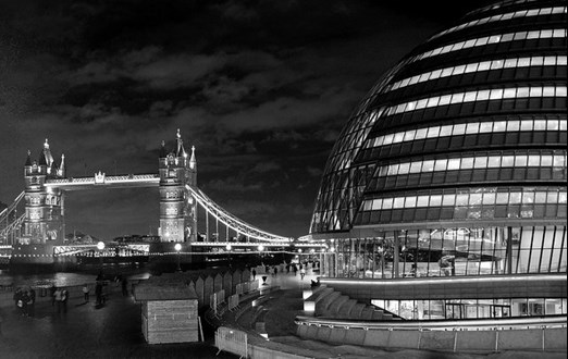 Tower Bridge and City Hall at night
