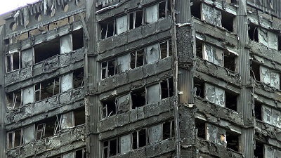 Burnt out flats in Grenfell Tower