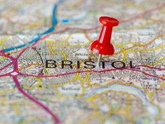 Pin in Bristol on map