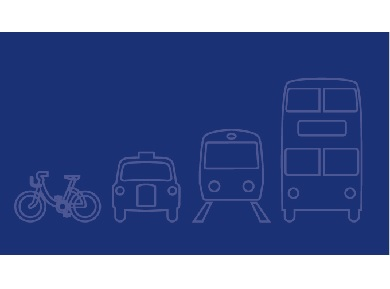 Drawing of bike, taxi, train, bus