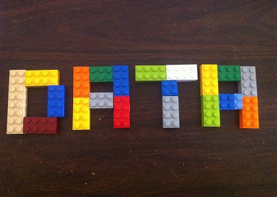 'Data' spelled out from Lego pieces