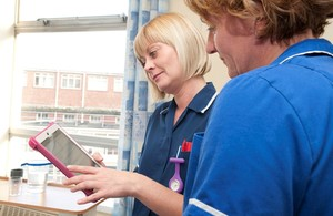 Nurses with tablet computer