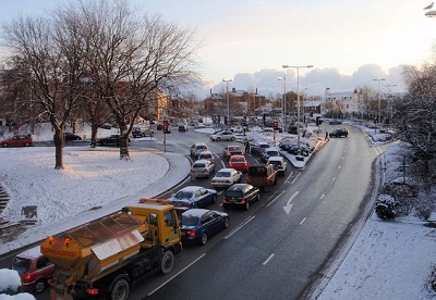 Vehicles queuing in traffic jam
