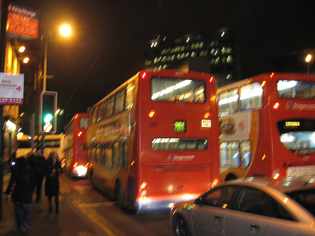 London buses at night