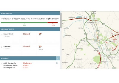 Screenshot of Waze with Oxfordshire map