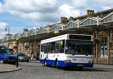Bus at Bristol Temple Meads station