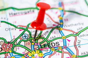Pin in Leeds on map