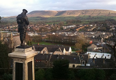 Pendle seen from Clitheroe, with war memorial