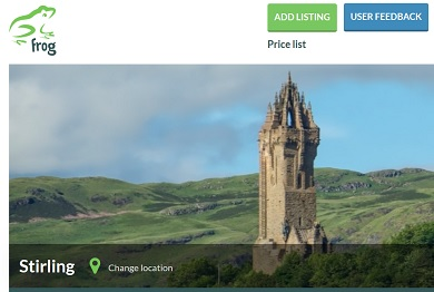 Screenshot of Frog home page - pic of Stirling Castle