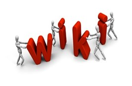 Small characters pushing 'wiki' letters into place