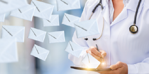 Message icons flying off doctor's notepad