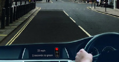 Road seen from windscreen with info display