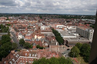 Worcester city centre from Cathedral By Bob Embleton, CC BY-SA 2.0.jpg