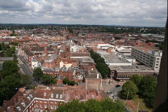 Worcester city centre from cathedral