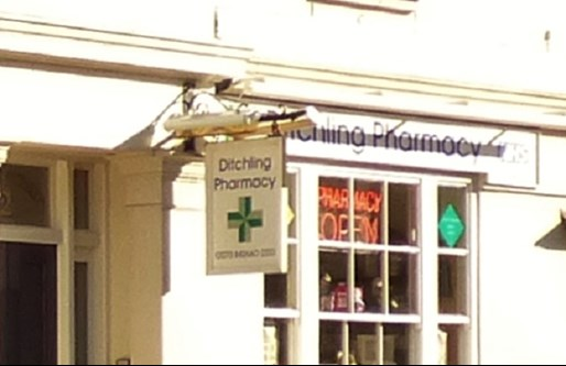 Pharmacy window and sign