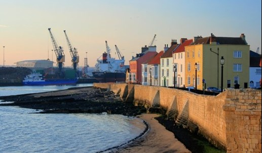 Hartlepool Town Wall by river