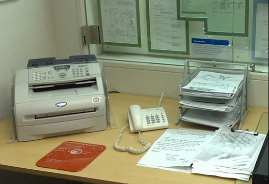 Fax machine on desk