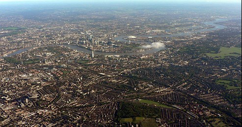Aerial view of part of London