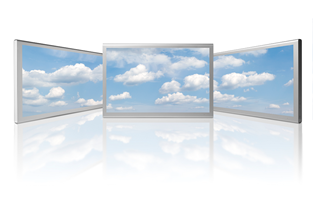 Clouds on three screens